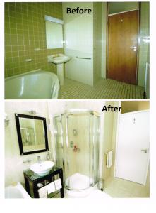Shower BeforeAfter 221x300 Bathroom Remodelling